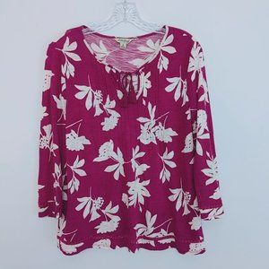 Lucky Brand Size M Pink Floral Womens Keyhole